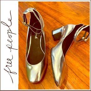 🌟NWOB Free People Silver Metallic Mary Janes